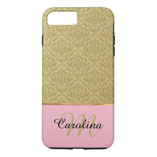 Gold Damask, Pink  Name & Monogram iPhone 8 Plus/7 Plus Case