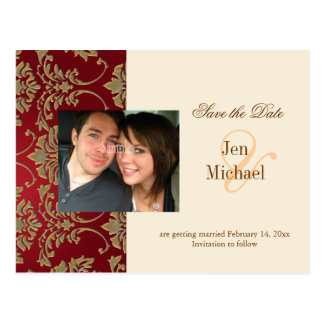 Gold damask, Save the Date Photo postcards, Postcard