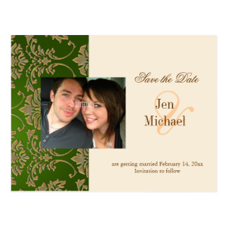 Gold damask, Save the Date Photo postcards, Postcard