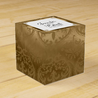 Gold Damask Silk Posh Wedding Favor Box