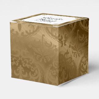 Gold Damask Silk Posh Wedding Favor Box Favour Boxes