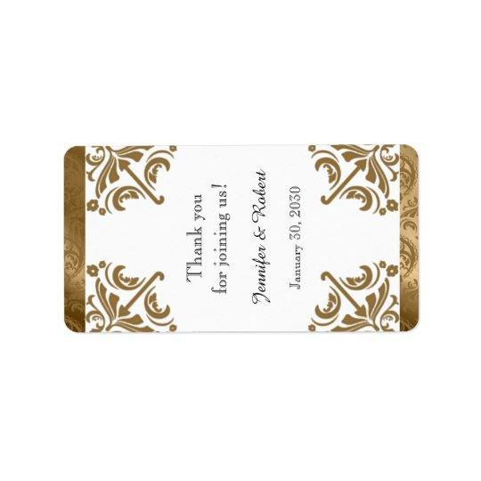 Gold Damask Silk Posh Wedding Lip Balm Label