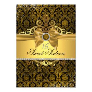 Gold Damask Sweet Sixteen Invite