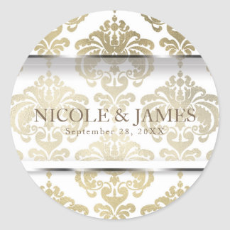 Gold Damask Vintage Glam Wedding Event Favor Classic Round Sticker