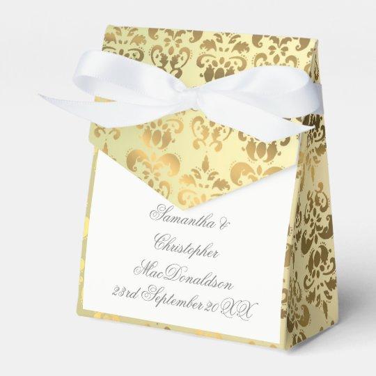 Gold damask wedding favour box
