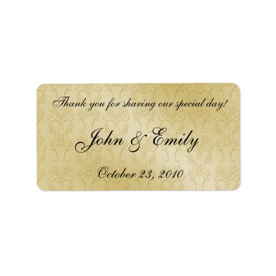 Gold Damask Wedding Favour Labels