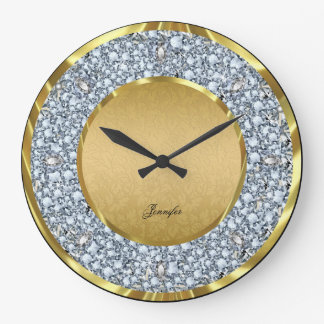 Gold Damasks & Sparkling Diamonds Glitter-Monogram Large Clock