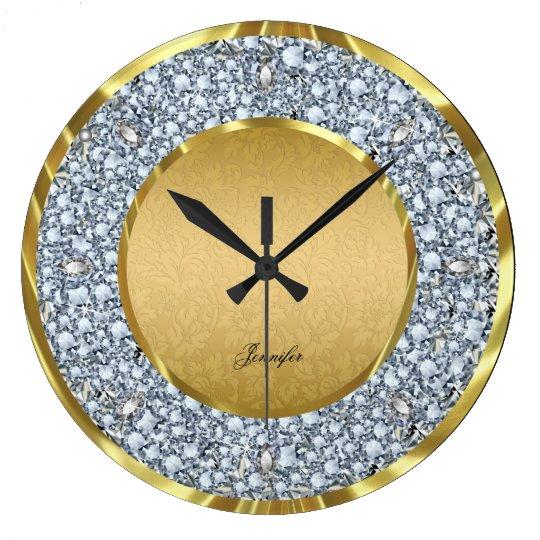 Gold Damasks & Sparkling Diamonds Glitter-Monogram Large