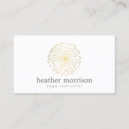 Gold dandelion starburst logo on white business card zazzle gold dandelion starburst logo on white business card colourmoves