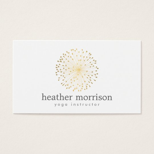 GOLD DANDELION STARBURST LOGO on WHITE Business Card