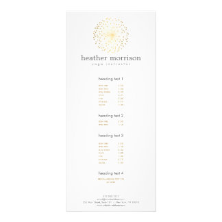GOLD DANDELION STARBURST LOGO on WHITE Rack Card