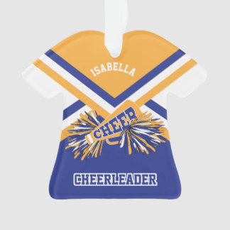 Gold, Dark Blue and White Cheerleader Ornament