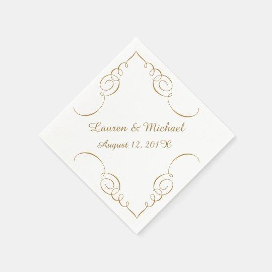 Gold Dark Swirl Border Personalised Wedding Disposable Serviettes