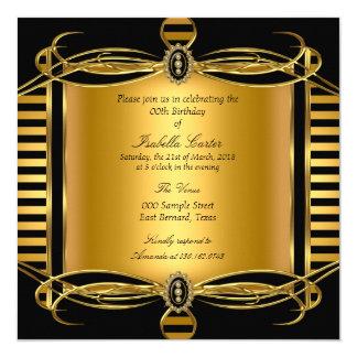 Gold Deco Black Stripe Pearl Birthday Party Card