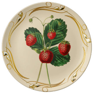 Gold decorated strawberry Porcelain Plate