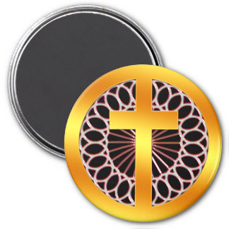 Gold Decorative Cross 7.5 Cm Round Magnet