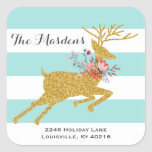 Gold Deer and Stripes Personalised Address Labels Square Sticker