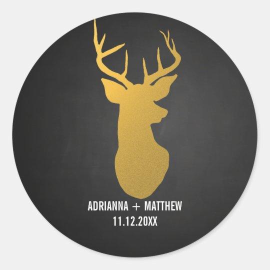 Gold Deer / Antler Chalkboard Wedding Classic Round