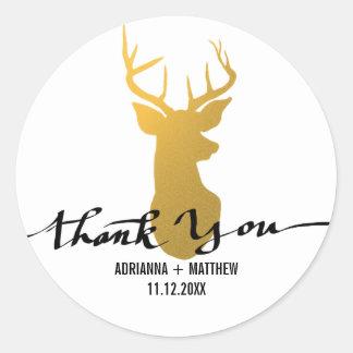 Gold Deer / Antler Wedding Thank You Typography Round Sticker