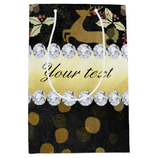 Gold Deer Confetti Diamonds Chalkboard Medium Gift Bag
