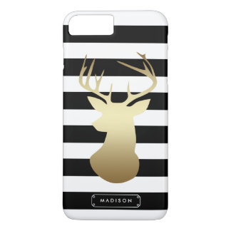 Gold Deer Head Black & White Stripes Personalized iPhone 8 Plus/7 Plus Case