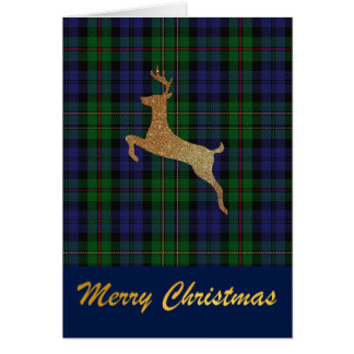 Gold Deer MacEwen Plaid Christmas Greeting Card