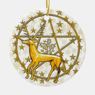 Gold Deer & Pentacle #3 Christmas Ornament
