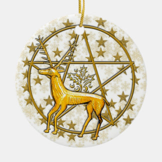 Gold Deer & Pentacle Date Monogrammed #3 Round Ceramic Decoration