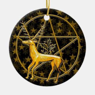 Gold Deer & Pentacle - Double-Sided #1 Christmas Ornament
