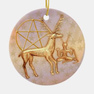 Gold Deer, Pentacle, &  Gold Cernunnos #1 Round Ceramic Decoration