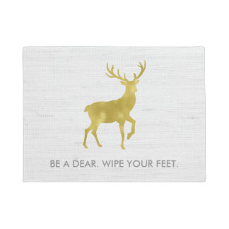Gold Deer Stag on Rustic Grey Linen Wipe Your Feet Doormat
