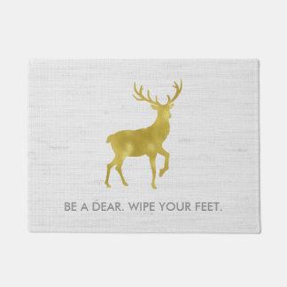 Gold Deer Stag on Rustic Grey Linen Wipe Your Feet Doormat