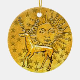 Gold Deer & Sun #1 Round Ceramic Decoration