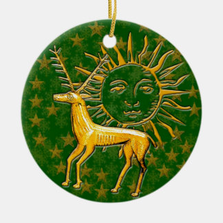 Gold Deer & Sun #2 Christmas Ornament