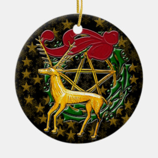 Gold Deer, Wreath, & Pentacle #1 Christmas Ornament