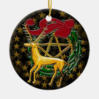 Gold Deer, Wreath, & Pentacle #1 Round Ceramic Decoration