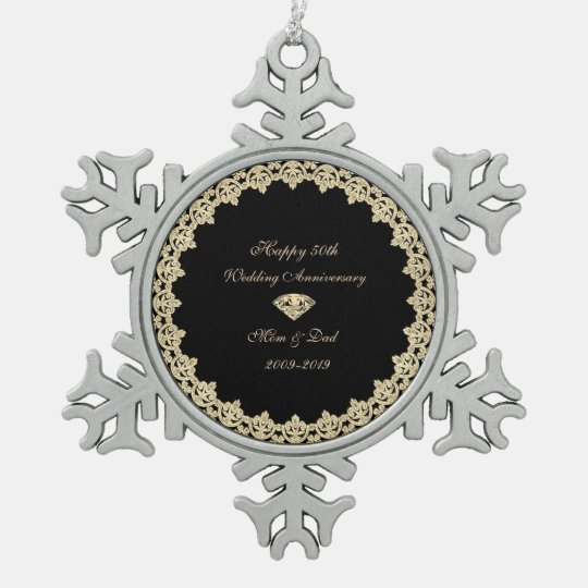 Gold Diamond 50th Wedding Anniversary Snowflake Pewter ...