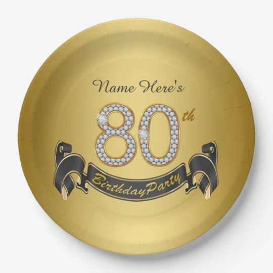 Gold Diamond 80th Birthday Party 9 Inch Paper