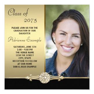 Gold Diamond Black and Gold Photo Graduation 13 Cm X 13 Cm Square Invitation Card