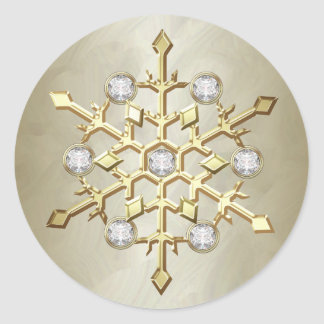 Gold Diamond Christmas Holiday Snowflake Classic Round Sticker