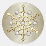Gold Diamond Christmas Holiday Snowflake Round Sticker