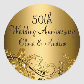 Gold Diamond Floral Swirl 50th Anniversary Sticker