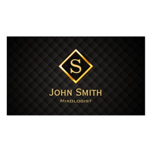 Gold Diamond Monogram Mixologist Business Card