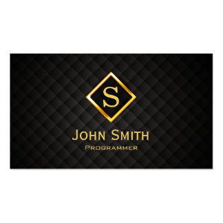 Gold Diamond Monogram Programmer Business Card