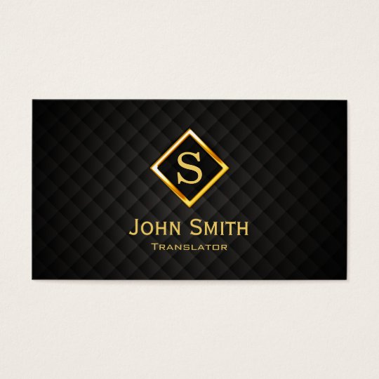 Gold Diamond Monogram Translator Business Card