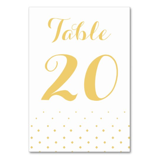 Gold Diamond on White Table Number Card Table