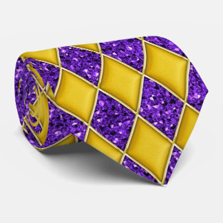 Gold Diamond Purple Sequin Pattern Mardi Gras Tie