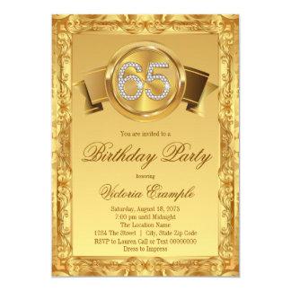 Gold Diamond Swirl Fancy 65th Birthday 13 Cm X 18 Cm Invitation Card