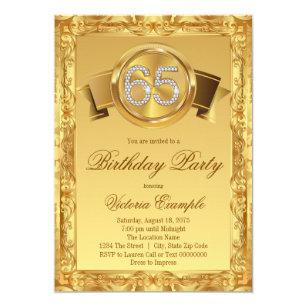 gold diamond swirl fancy 65th birthday invitation