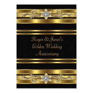 Gold Diamonds Elegant 50th Wedding Anniversary 13 Cm X 18 Cm Invitation Card